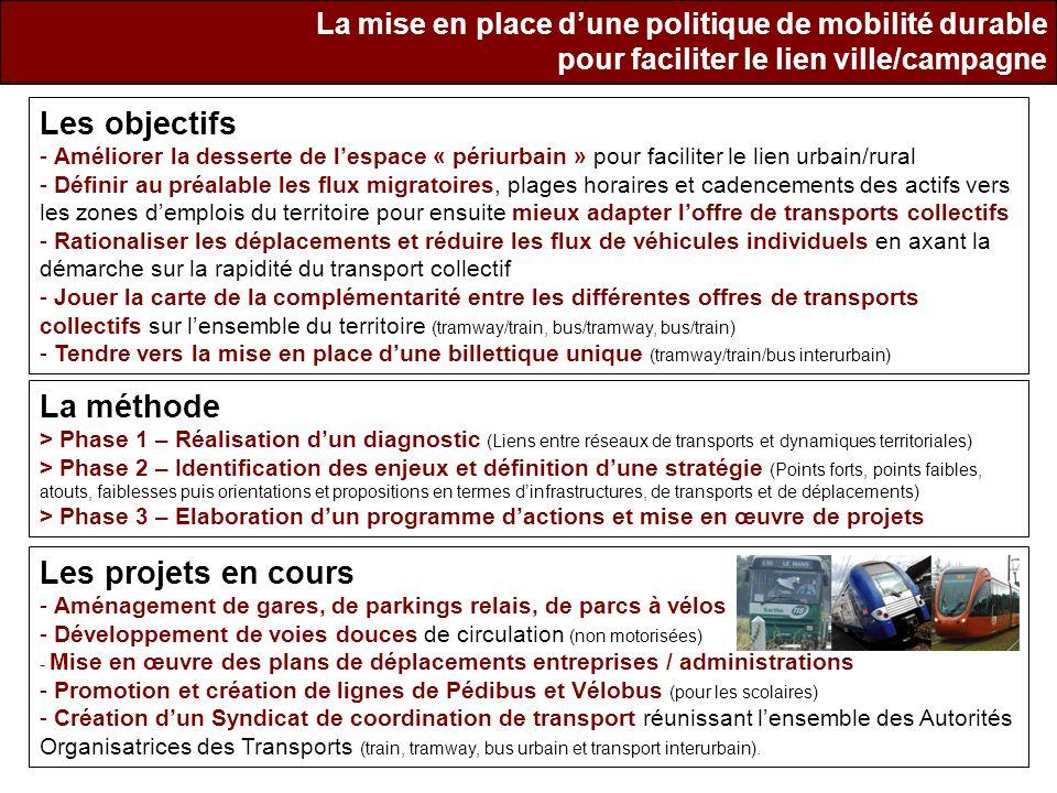 La mise en place dune politique de mobilité durable pour faciliter le lien ville/campagne Les objectifs - Améliorer la desserte de lespace « périurbai