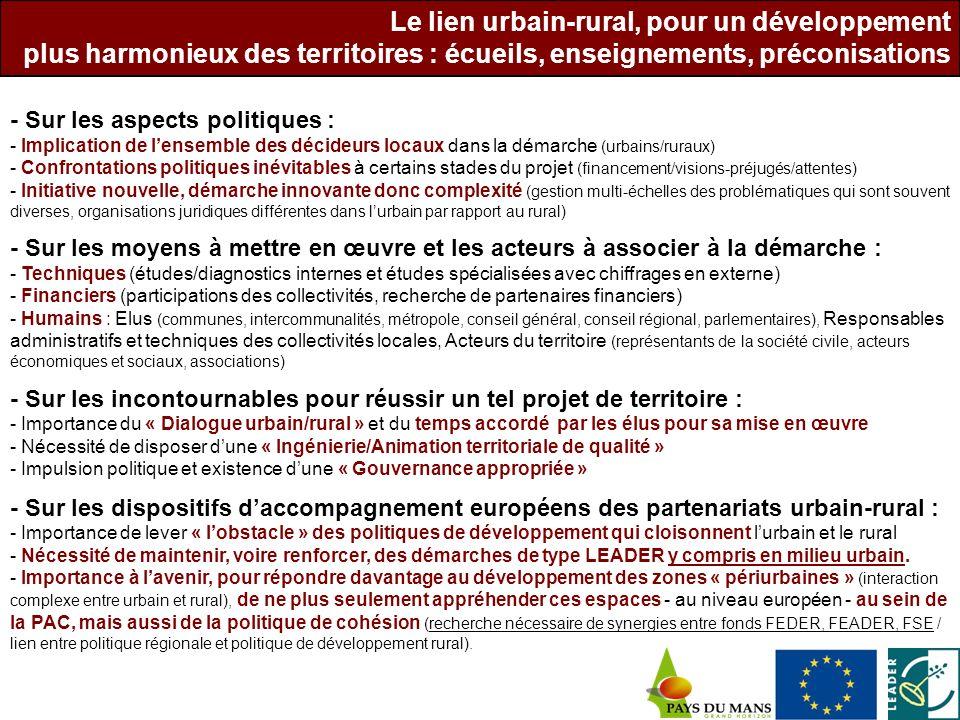 - Sur les aspects politiques : - Implication de lensemble des décideurs locaux dans la démarche (urbains/ruraux) - Confrontations politiques inévitabl