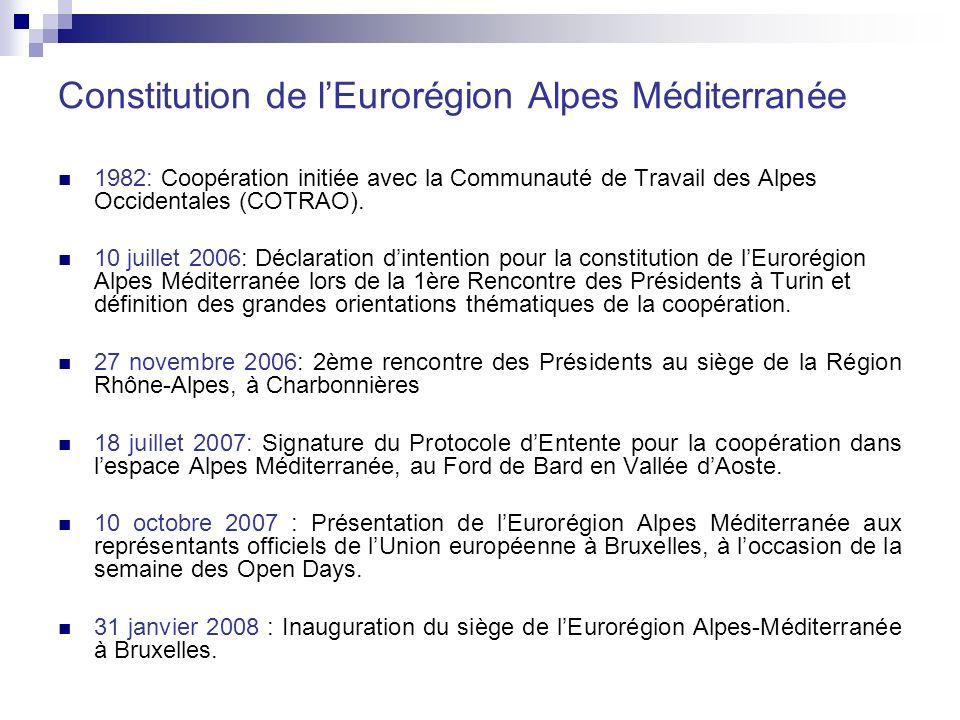 Constitution de lEurorégion Alpes Méditerranée 1982: Coopération initiée avec la Communauté de Travail des Alpes Occidentales (COTRAO).