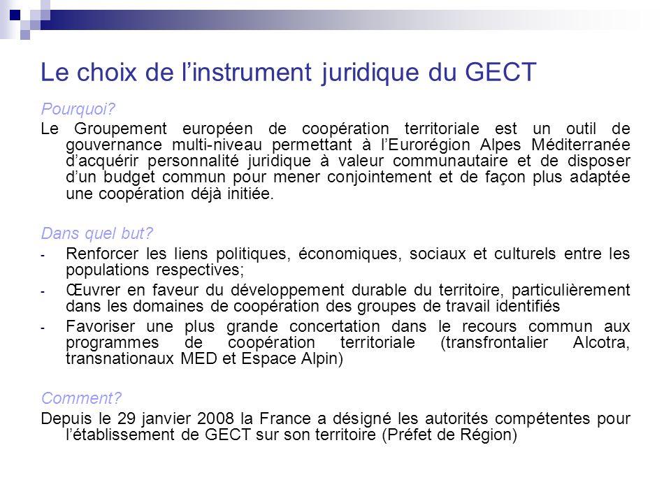 Le choix de linstrument juridique du GECT Pourquoi.