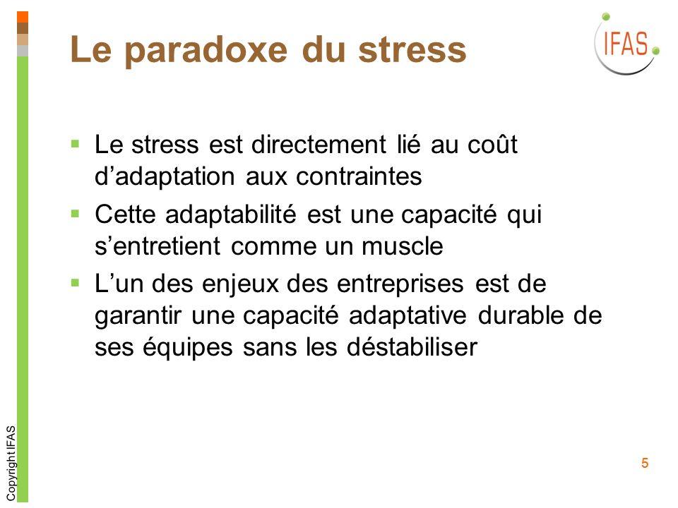 5 Le paradoxe du stress Le stress est directement lié au coût dadaptation aux contraintes Cette adaptabilité est une capacité qui sentretient comme un muscle Lun des enjeux des entreprises est de garantir une capacité adaptative durable de ses équipes sans les déstabiliser Copyright IFAS 5