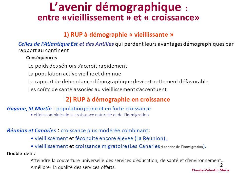12 Lavenir démographique : entre «vieillissement » et « croissance» 1) RUP à démographie « vieillissante » Celles de lAtlantique Est et des Antilles q