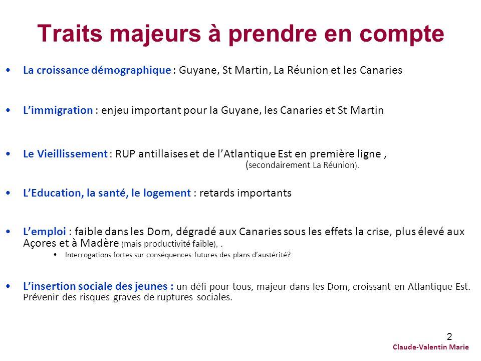 2 Traits majeurs à prendre en compte La croissance démographique : Guyane, St Martin, La Réunion et les Canaries Limmigration : enjeu important pour l