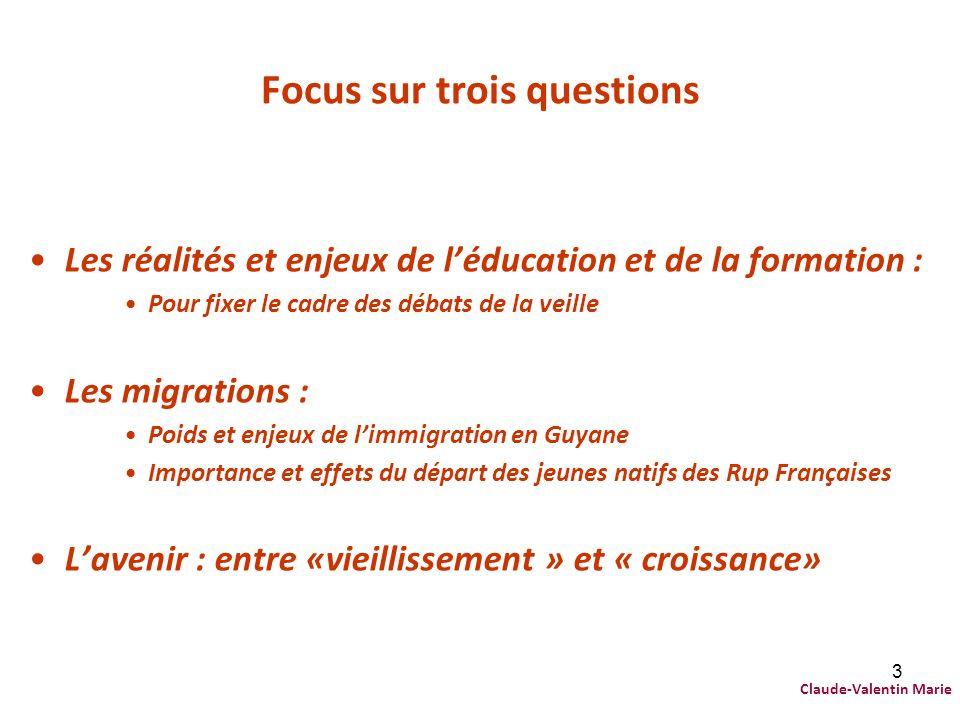 3 Focus sur trois questions Les réalités et enjeux de léducation et de la formation : Pour fixer le cadre des débats de la veille Les migrations : Poi