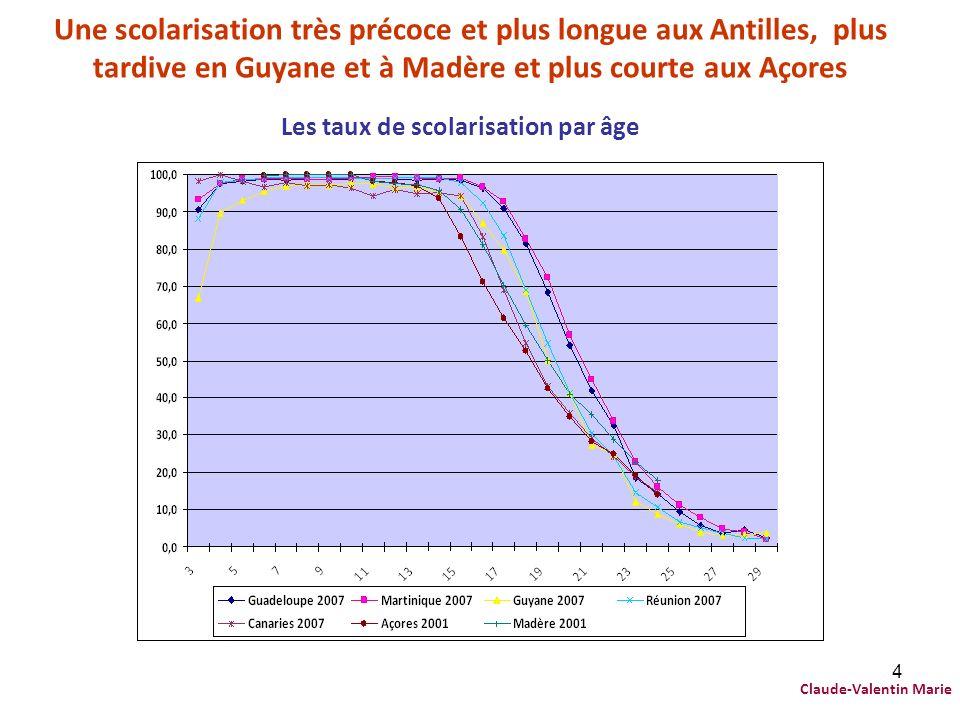 4 Une scolarisation très précoce et plus longue aux Antilles, plus tardive en Guyane et à Madère et plus courte aux Açores Les taux de scolarisation p