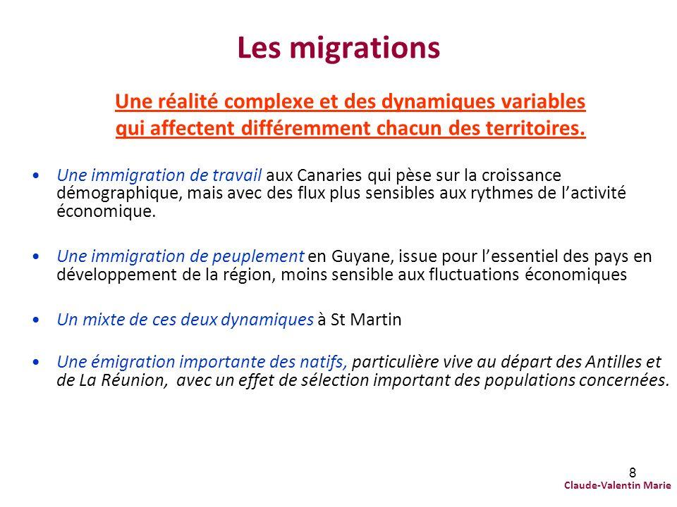 8 Les migrations Une réalité complexe et des dynamiques variables qui affectent différemment chacun des territoires. Une immigration de travail aux Ca