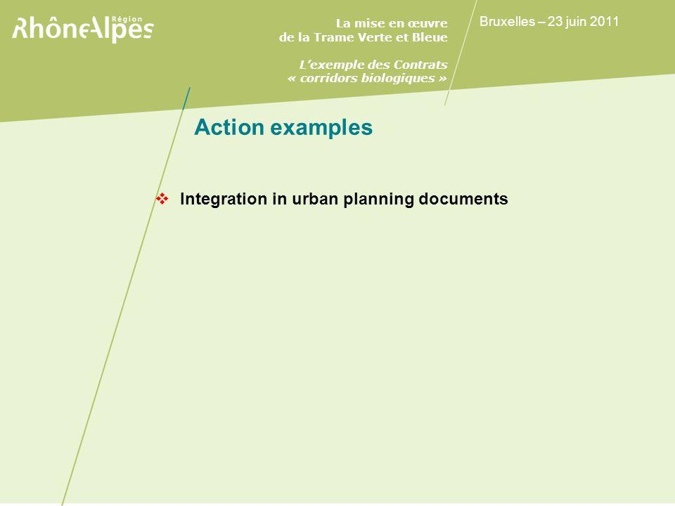 La mise en œuvre de la Trame Verte et Bleue Lexemple des Contrats « corridors biologiques » Bruxelles – 23 juin 2011 Action examples Integration in urban planning documents