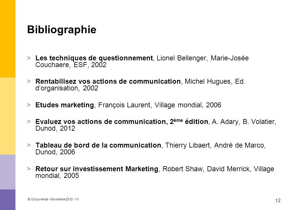 © Occurrence - Novembre 2012 - V1 12 Bibliographie >Les techniques de questionnement, Lionel Bellenger, Marie-Josée Couchaere, ESF, 2002 >Rentabilisez