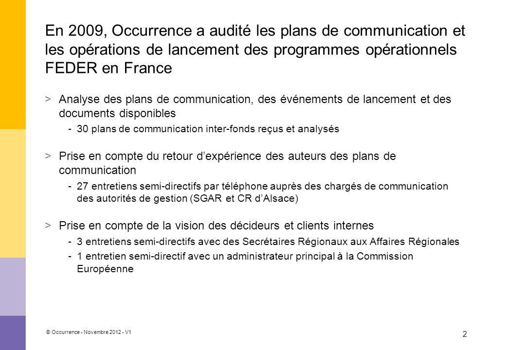 © Occurrence - Novembre 2012 - V1 2 En 2009, Occurrence a audité les plans de communication et les opérations de lancement des programmes opérationnel