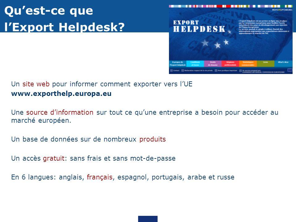 Un site web pour informer comment exporter vers lUE www.exporthelp.europa.eu Une source dinformation sur tout ce quune entreprise a besoin pour accéder au marché européen.