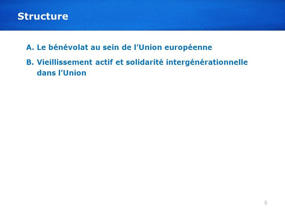 A.Le bénévolat au sein de lUnion européenne B.Vieillissement actif et solidarité intergénérationnelle dans lUnion 5