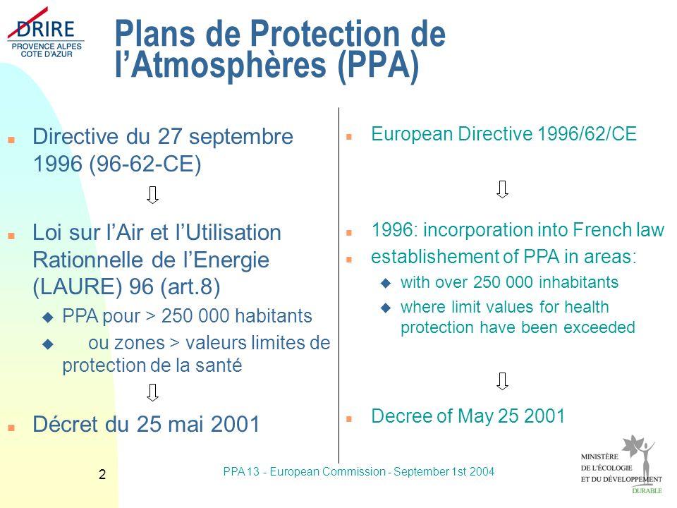 PPA 13 - European Commission - September 1st 2004 13 Mesures urgence ozone n Réductions de vitesse -30km/h (>70 km/h) n Actions sur 52 industriels n Information du public n Circulation alternée n Speed reduction -30km/h (>70 km/h) n Alternate circulation n 52 industrials n Information of the public