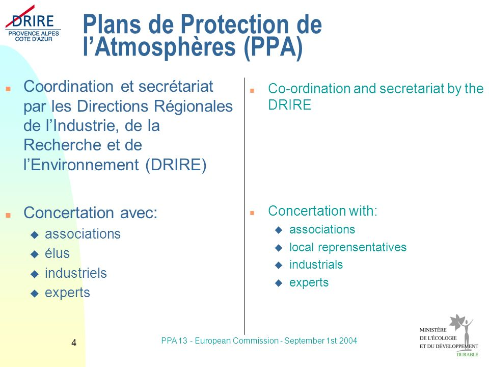 PPA 13 - European Commission - September 1st Plans de Protection de lAtmosphères (PPA) n Coordination et secrétariat par les Directions Régionales de lIndustrie, de la Recherche et de lEnvironnement (DRIRE) n Concertation avec: u associations u élus u industriels u experts n Co-ordination and secretariat by the DRIRE n Concertation with: u associations u local reprensentatives u industrials u experts