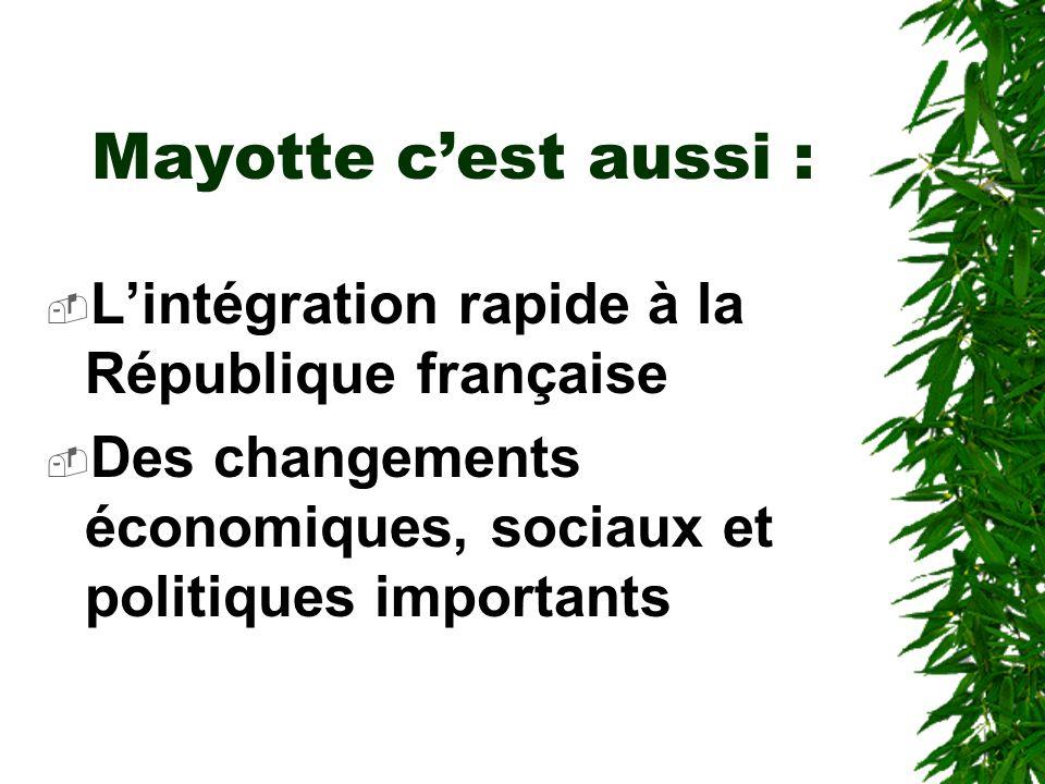 Mayotte doit : Intégrer les jeunes sur le marché du travail (créer 2500 emplois/an pendant 10 ans) Répondre à la croissance des besoins dans les normes Réaliser la mise aux normes de lappareil productif Stabiliser et réduire les fractures sociales émergentes Préserver son environnement
