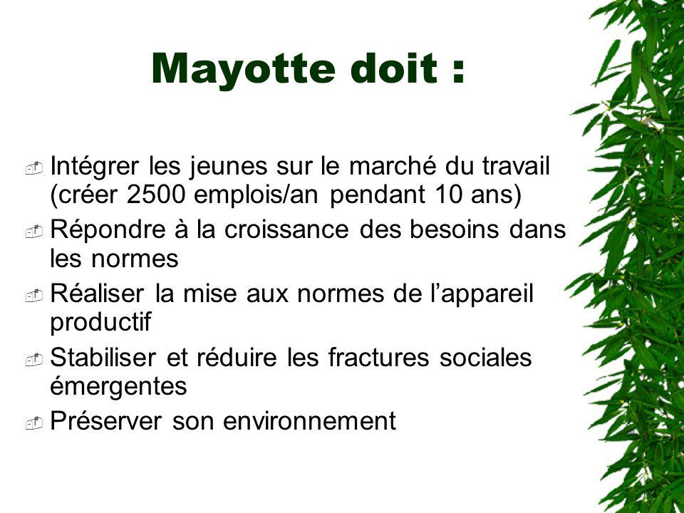 Mayotte doit : Intégrer les jeunes sur le marché du travail (créer 2500 emplois/an pendant 10 ans) Répondre à la croissance des besoins dans les norme