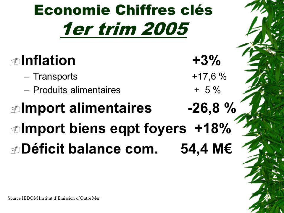 Economie Chiffres clés 1er trim 2005 Inflation +3% –Transports +17,6 % –Produits alimentaires + 5 % Import alimentaires -26,8 % Import biens eqpt foye