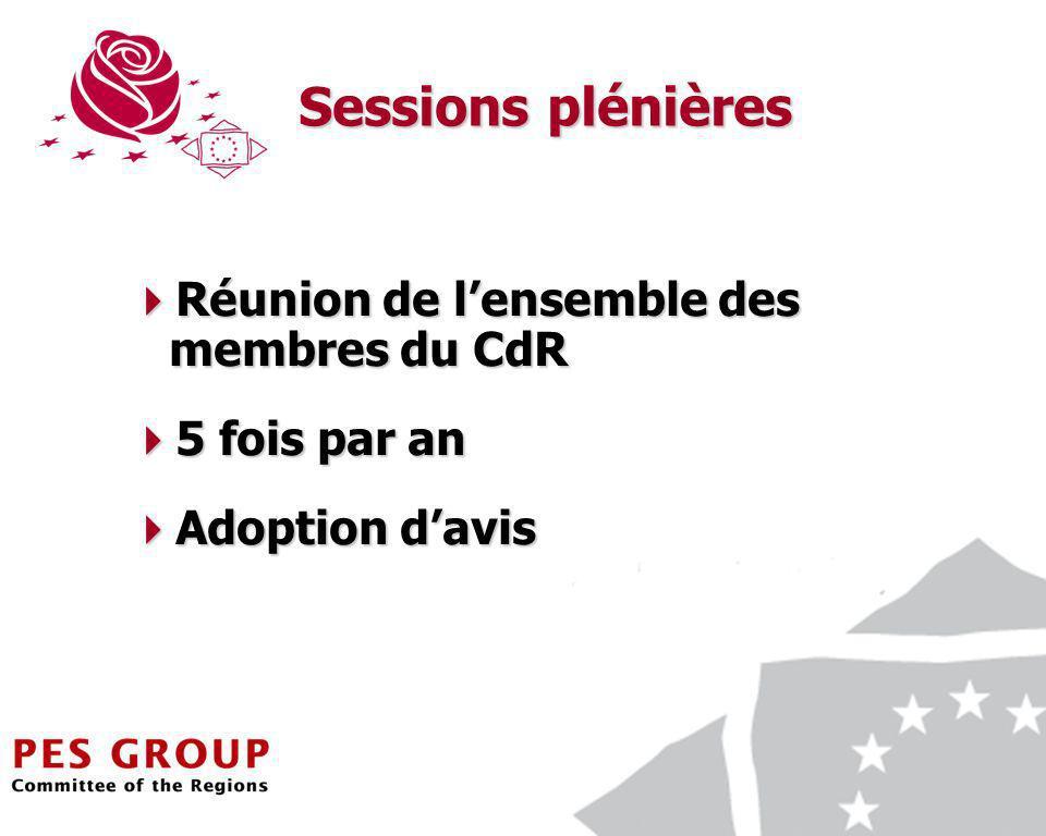 14 Sessions plénières Réunion de lensemble des membres du CdR Réunion de lensemble des membres du CdR 5 fois par an 5 fois par an Adoption davis Adoption davis