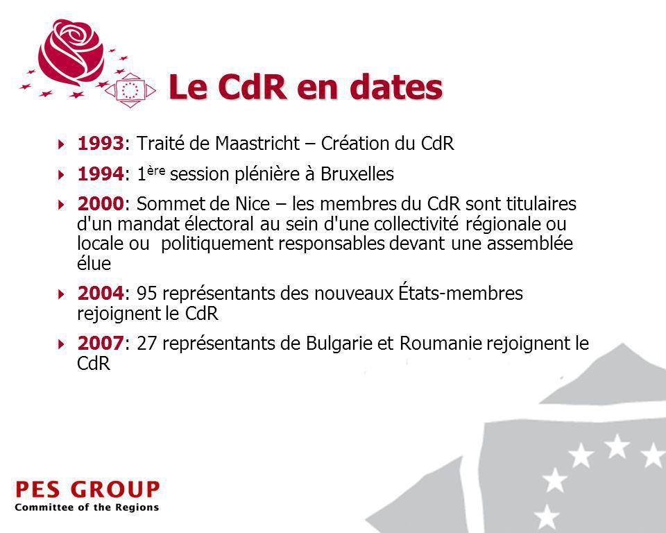 3 Le CdR en dates 1993: Traité de Maastricht – Création du CdR 1994: 1 ère session plénière à Bruxelles 2000: Sommet de Nice – les membres du CdR sont titulaires d un mandat électoral au sein d une collectivité régionale ou locale ou politiquement responsables devant une assemblée élue 2004: 95 représentants des nouveaux États-membres rejoignent le CdR 2007: 27 représentants de Bulgarie et Roumanie rejoignent le CdR