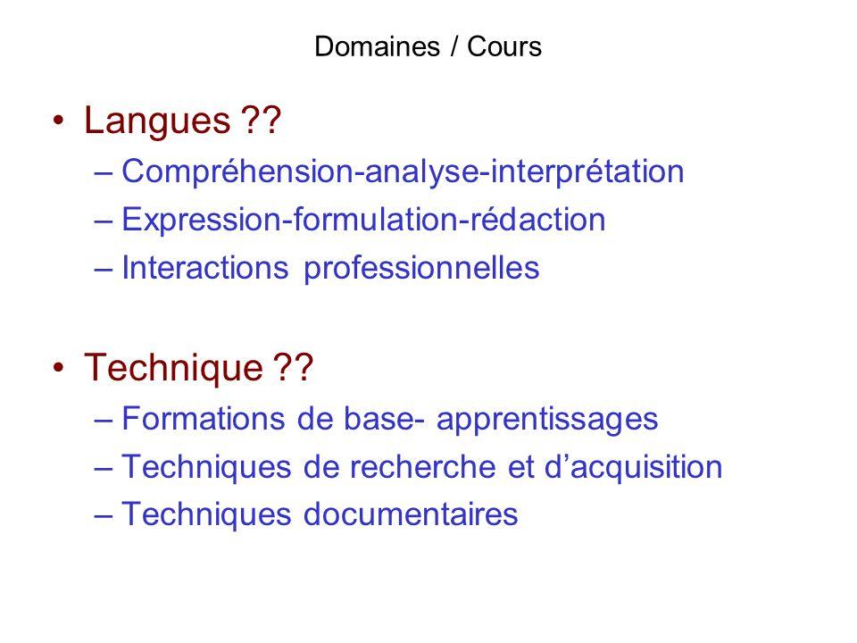 Domaines / Cours Langues ?? –Compréhension-analyse-interprétation –Expression-formulation-rédaction –Interactions professionnelles Technique ?? –Forma
