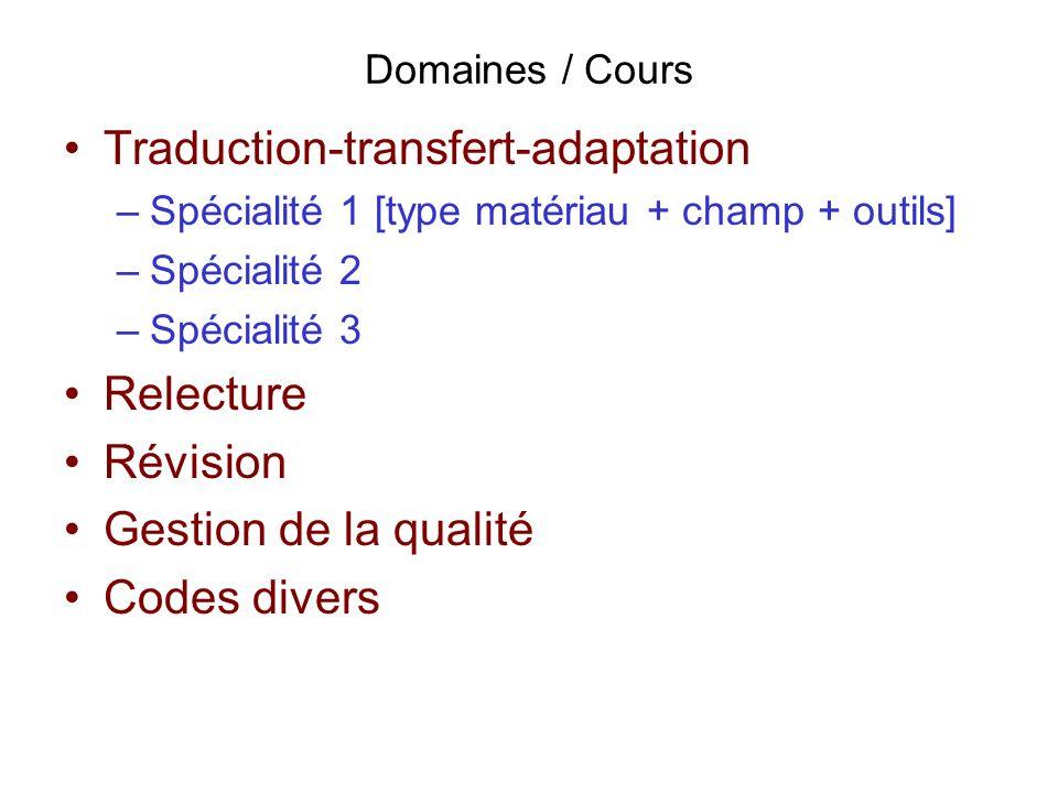 Domaines / Cours Traduction-transfert-adaptation –Spécialité 1 [type matériau + champ + outils] –Spécialité 2 –Spécialité 3 Relecture Révision Gestion