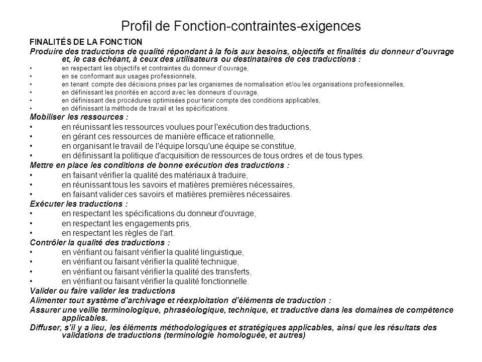 Profil de Fonction-contraintes-exigences FINALITÉS DE LA FONCTION Produire des traductions de qualité répondant à la fois aux besoins, objectifs et fi