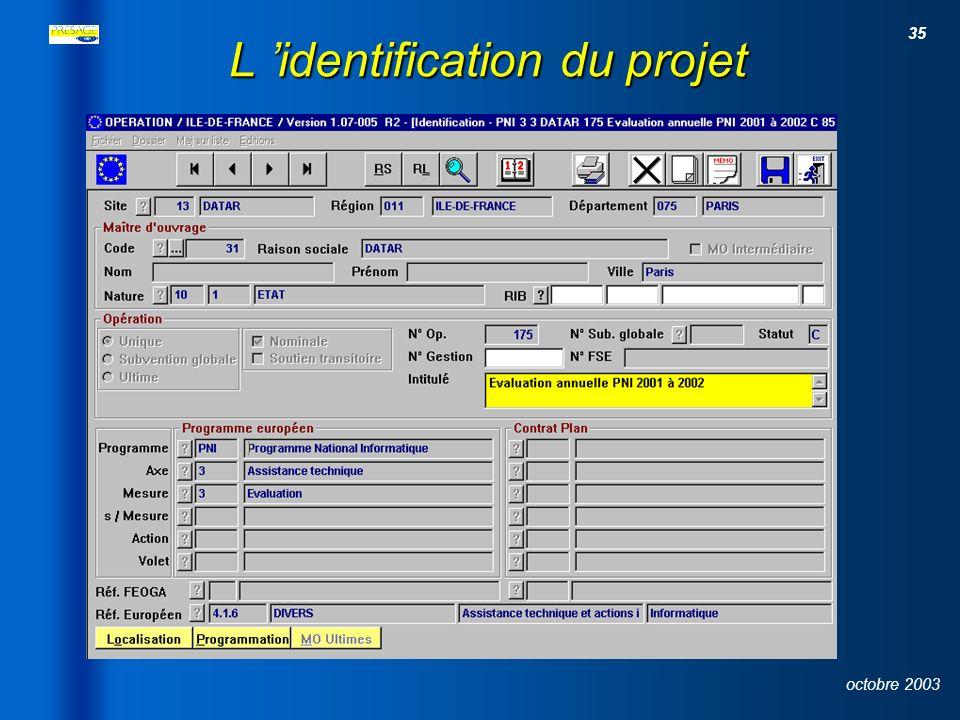 34 octobre 2003 Le module opération FonctionnalitésFonctionnalités