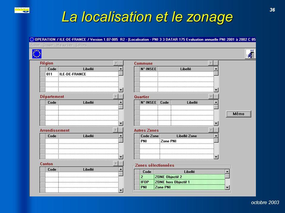 35 octobre 2003 L identification du projet