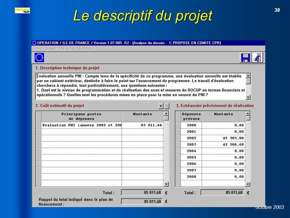 37 octobre 2003 Le plan de financement