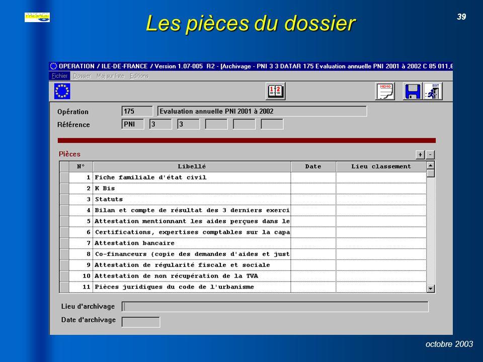 38 octobre 2003 Le descriptif du projet