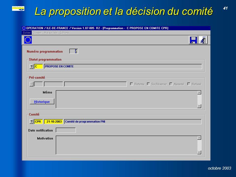40 octobre 2003 L instruction du dossier