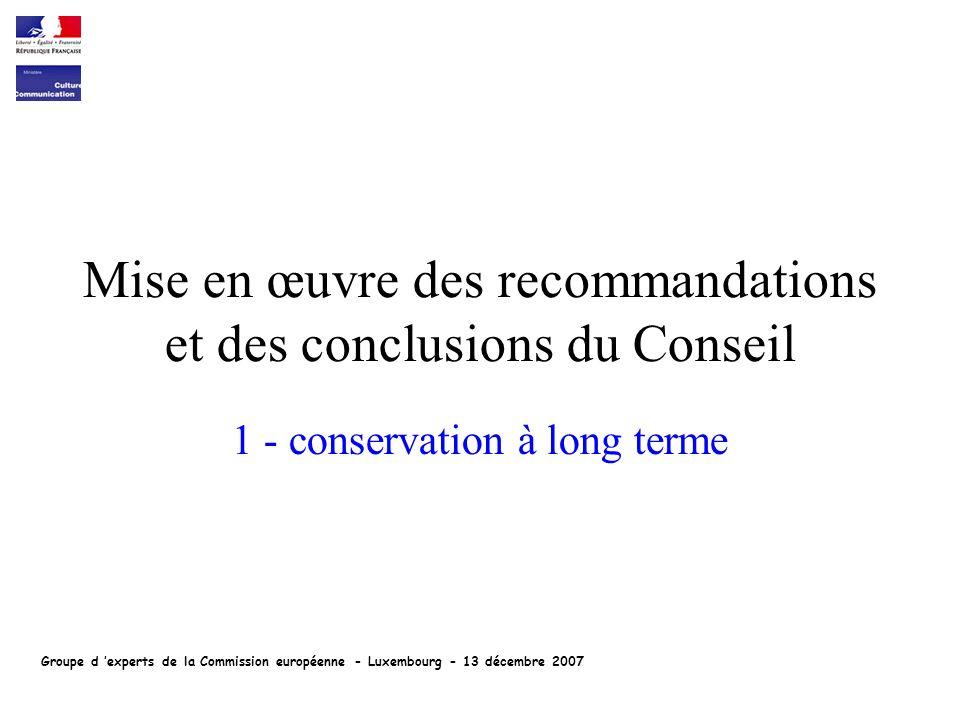 Mise en œuvre des recommandations et des conclusions du Conseil 1 - conservation à long terme Groupe d experts de la Commission européenne - Luxembourg - 13 décembre 2007