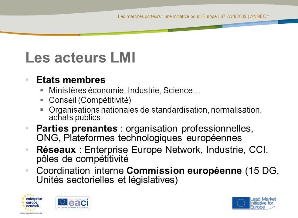 Les marchés porteurs : une initiative pour lEurope | 07 Avril 2009 | ANNECY Les acteurs LMI Etats membres Ministères économie, Industrie, Science… Con