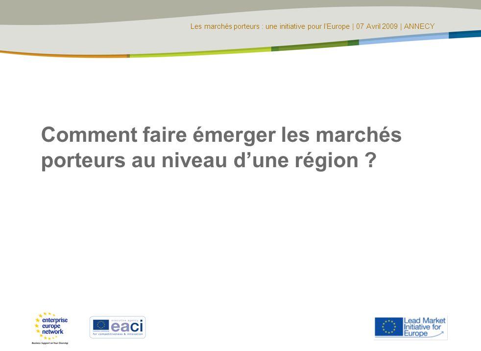 Les marchés porteurs : une initiative pour lEurope | 07 Avril 2009 | ANNECY Comment faire émerger les marchés porteurs au niveau dune région ?