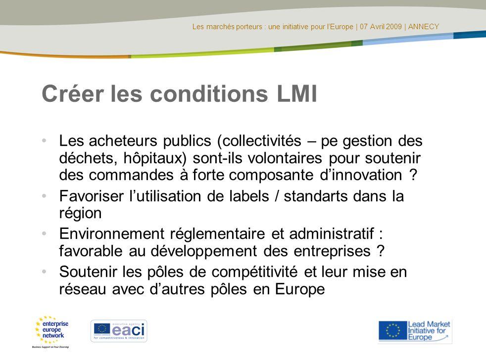 Les marchés porteurs : une initiative pour lEurope | 07 Avril 2009 | ANNECY Créer les conditions LMI Les acheteurs publics (collectivités – pe gestion