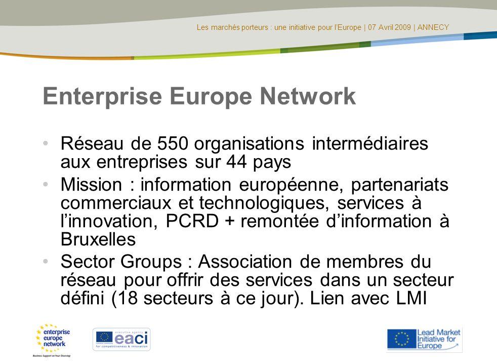 Les marchés porteurs : une initiative pour lEurope | 07 Avril 2009 | ANNECY Enterprise Europe Network Réseau de 550 organisations intermédiaires aux e