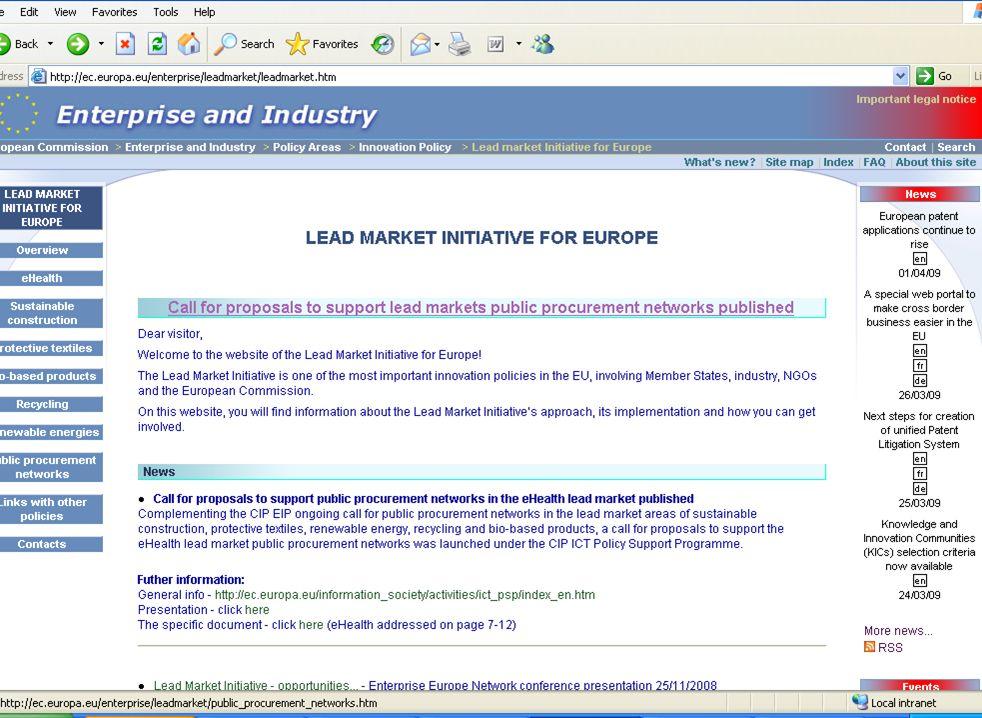 Les marchés porteurs : une initiative pour lEurope | 07 Avril 2009 | ANNECY