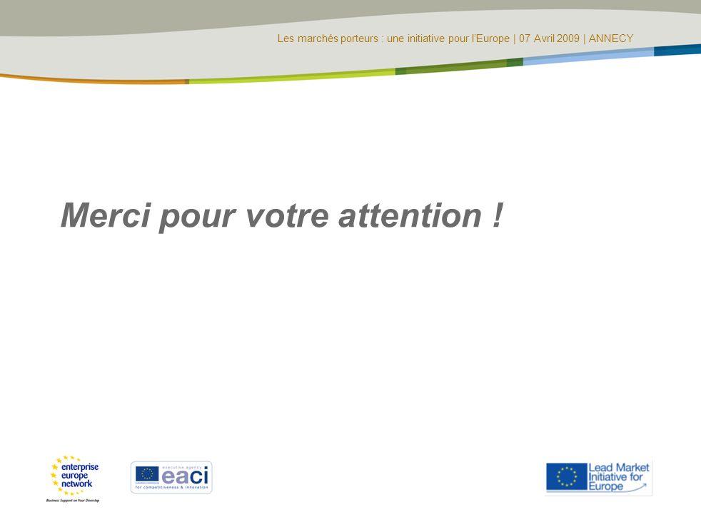 Les marchés porteurs : une initiative pour lEurope | 07 Avril 2009 | ANNECY Merci pour votre attention !