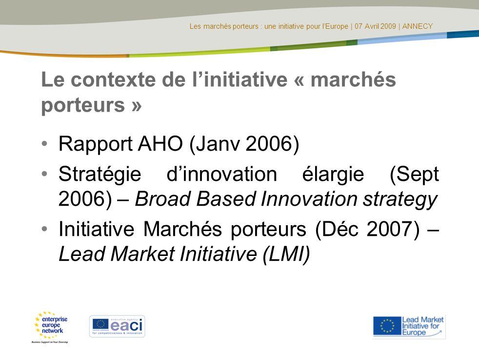Les marchés porteurs : une initiative pour lEurope | 07 Avril 2009 | ANNECY Le contexte de linitiative « marchés porteurs » Rapport AHO (Janv 2006) St