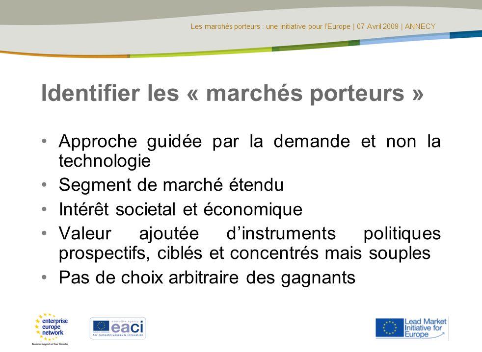 Les marchés porteurs : une initiative pour lEurope | 07 Avril 2009 | ANNECY Identifier les « marchés porteurs » Approche guidée par la demande et non