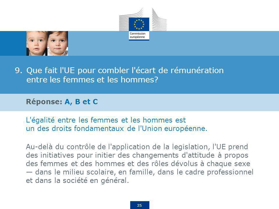 25 9.Que fait l'UE pour combler l'écart de rémunération entre les femmes et les hommes? Réponse: A, B et C L'égalité entre les femmes et les hommes es