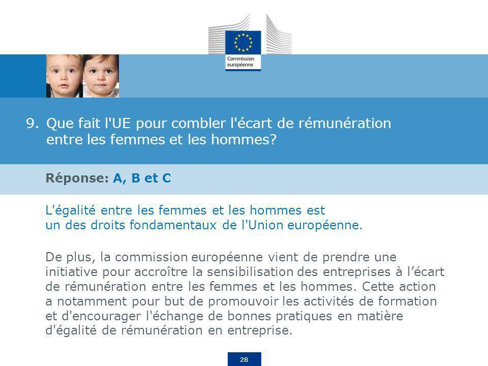 28 9.Que fait l'UE pour combler l'écart de rémunération entre les femmes et les hommes? Réponse: A, B et C L'égalité entre les femmes et les hommes es
