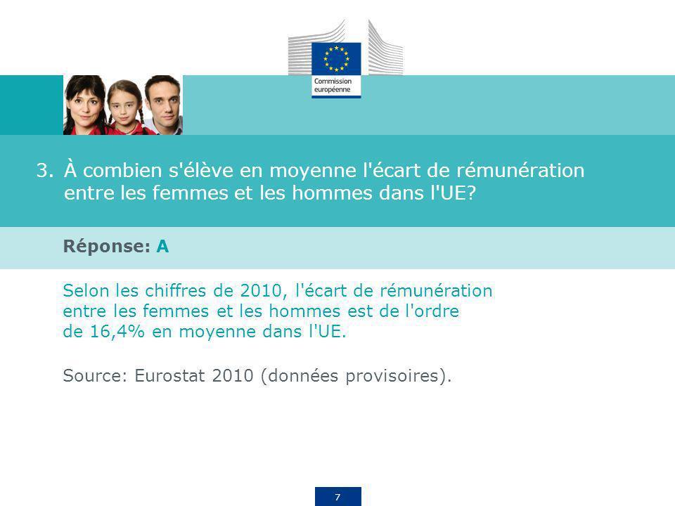 7 3.À combien s'élève en moyenne l'écart de rémunération entre les femmes et les hommes dans l'UE? Réponse: A Selon les chiffres de 2010, l'écart de r
