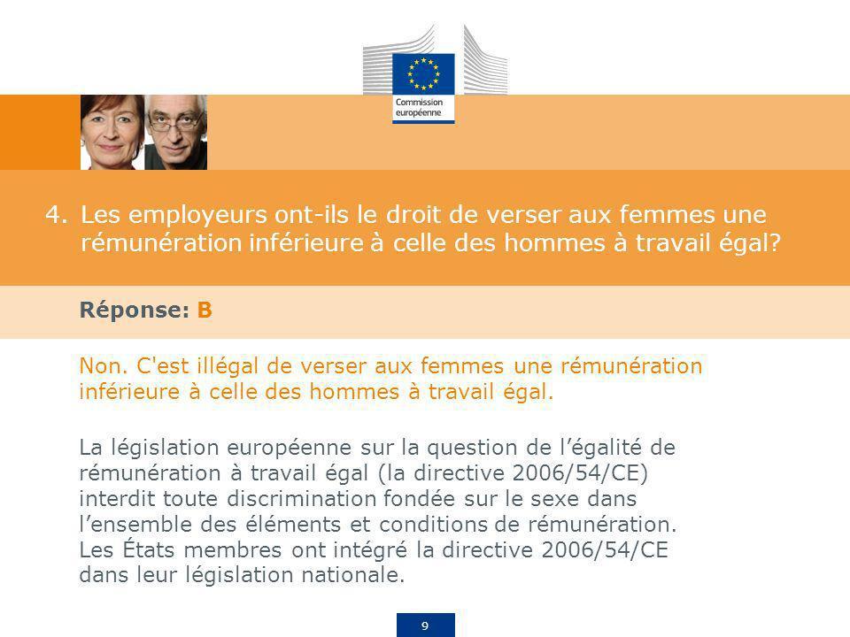 10 5.À quand remontent les premières directives européennes contre l écart de rémunération entre les femmes et les hommes.