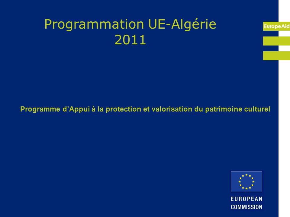 EuropeAid Cadre du programme : coopération bilatérale UE-Algérie, partenariat avec le Ministère de la Culture Appui au secteur de la culture/patrimoine Au titre du PAA 2011, PIN 2011-2013 Budget alloué: 21.5 M (UE)+2.5M (DZ) Approche: projet, gestion partiellement décentralisée Modalités: appui technique, travaux, subventions, équipement Durée prévue des activités: 48 mois Etat davancement: Formulation terminée en 2011, décision août 2011, préparation CdF pour signature courant 2012 et démarrage activités 2013.