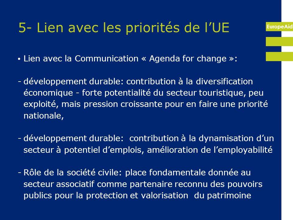 EuropeAid 5- Lien avec les priorités de lUE Lien avec la Communication « Agenda for change »: -développement durable: contribution à la diversificatio