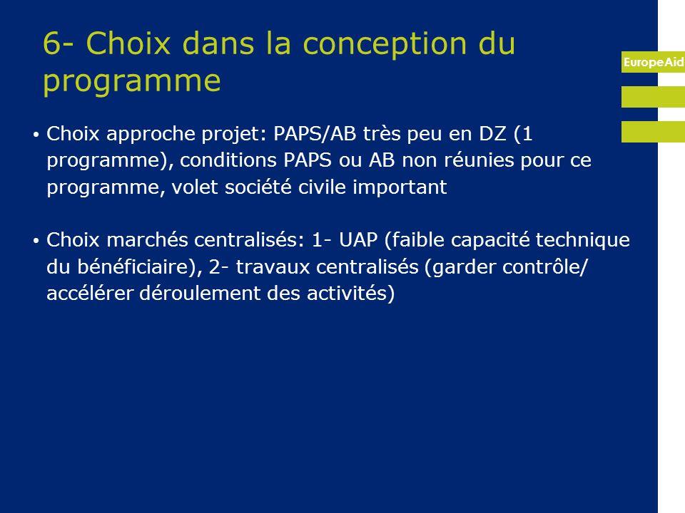 EuropeAid 6- Choix dans la conception du programme Choix approche projet: PAPS/AB très peu en DZ (1 programme), conditions PAPS ou AB non réunies pour