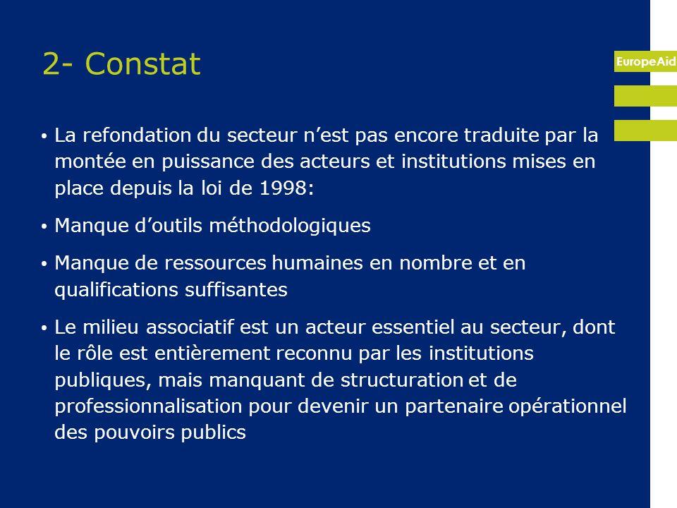 EuropeAid 2- Constat La refondation du secteur nest pas encore traduite par la montée en puissance des acteurs et institutions mises en place depuis l
