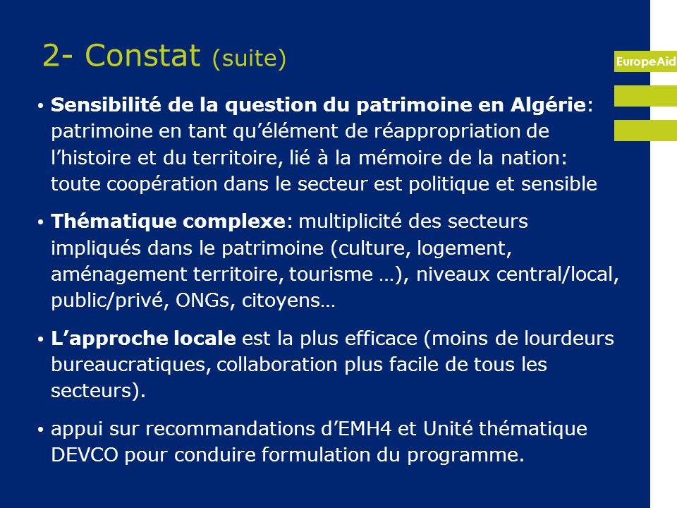 EuropeAid 2- Constat (suite) Sensibilité de la question du patrimoine en Algérie: patrimoine en tant quélément de réappropriation de lhistoire et du t