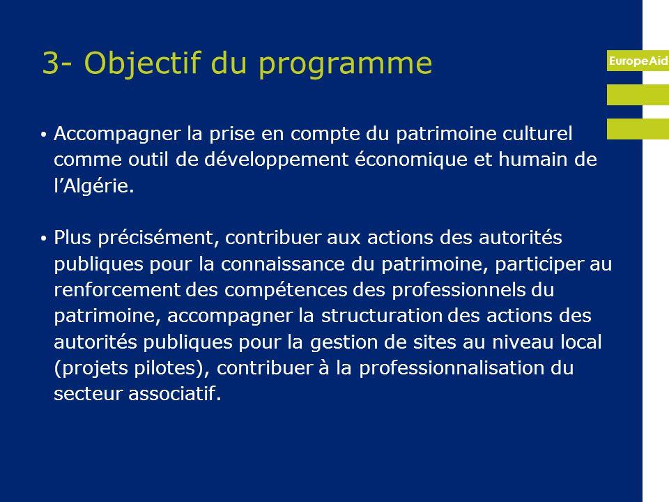 EuropeAid 3- Objectif du programme Accompagner la prise en compte du patrimoine culturel comme outil de développement économique et humain de lAlgérie