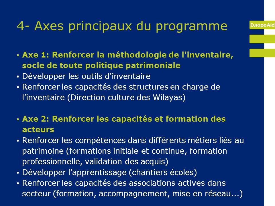 EuropeAid 4- Axes principaux du programme Axe 1: Renforcer la méthodologie de l'inventaire, socle de toute politique patrimoniale Développer les outil